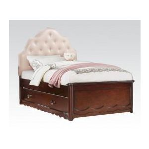 Cecilie Cherry/ Light Pink PU Twin Bed