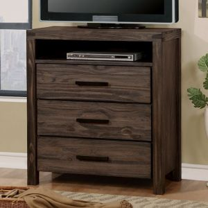 Rexburg Wire Brushed Rustic Brown Media Chest